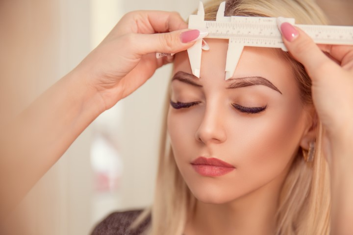 Microblading eyebrows work flow in a beauty salon